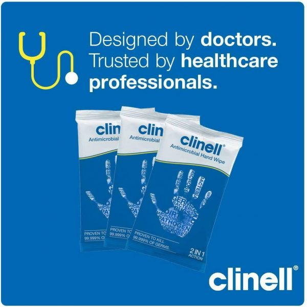 Clinell Antibacterial Hand Wipes - Box of 100 Sachets - nayble